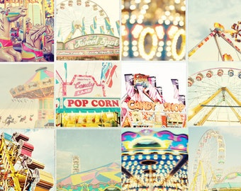 Carnival Collection 12 - 5x5 mini prints - Carnival Photography, Pastels, Bokeh Prints, Nursery Decor, Mini Prints, Ferris Wheel, Rides