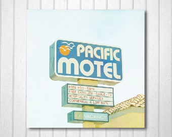 BUY 2 GET 1 FREE California Photography, Los Angeles Photography,Travel Photography, Motel, Wall Decor, Pastels, Summer Print -Pacific Motel
