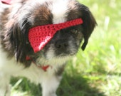 red crocheted pirate eye patch for small dogs cats animals by yourmomdesigns (rts)