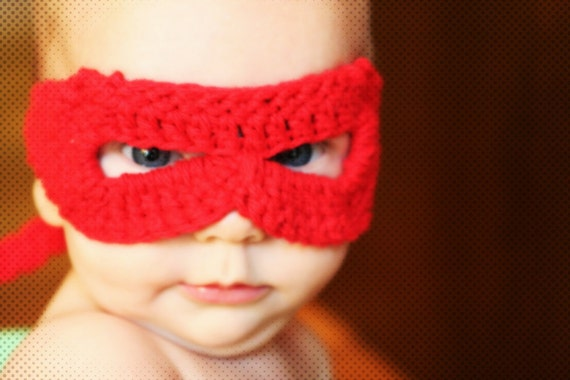 crocheted red superhero mask for infants by yourmomdesigns(rts)