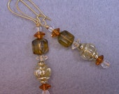 Vintage German Amber Green Faceted Lucite Bead Earrings  - Fall Gossamer