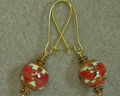 Vintage Chinese Porcelain Dangle Drop Bead Red White Black Geometric Earrings,Gold Kidney Ear Wires - GIFT WRAPPED