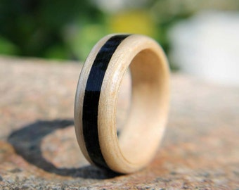 Bentwood Ring Maple with Jet Inlay men's