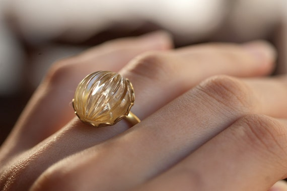 Ring - Scalloped Gold Lace and Clear Glass Dome Cabochon - Delicate and Dainty Cocktail Ring - Gift for Her - Vintage Forties - Hand Made
