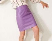 True lilac leather mini pencil skirt