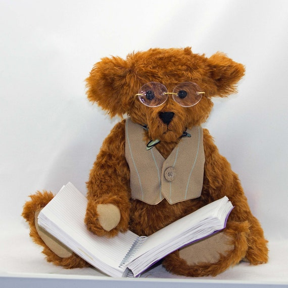 Hand Made Mohair Teddy Bear The Professor