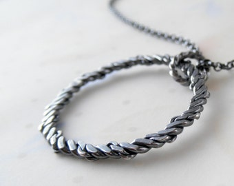 Sterling Silver Pendant. Unique Circle Necklace. Rustic Organic Hoop. Round Charm. Twisted Oxidized Circles.