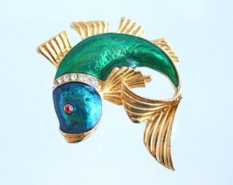 Vintage Fish Brooch Vintage Blue Green Enamel Rhinestones Tropical Fish Figural Pin Sea Ocean