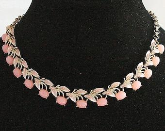 Pink Satin Glass Choker Necklace Vintage Enamel Leaves Adjustable Judy Lee