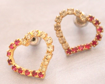 Heart Shaped Earrings Vintage Pierced Fuchsia Pink and Clear Rhinestones Studs