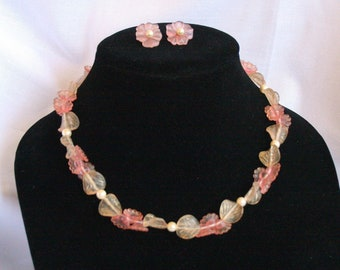 Pink Celluloid Flower Necklace Pierced Earrings Set Vintage Delicate Romantic Wedding