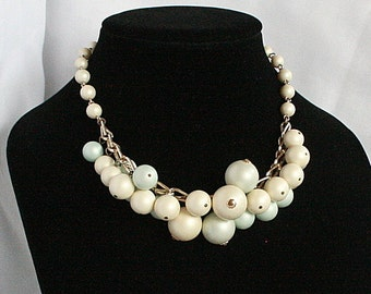 Bubble Cha Cha Necklace Vintage Japan Adjustable Choker Bib Ball Dangles Cream Mint Green Signed