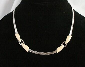 Silver Cream Enamel Choker Serpentine Necklace Vintage Retro