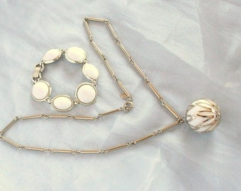 Chunky White Ball Necklace Bracelet Set Vintage Sarah Coventry Fashion Circle Dangle In Original Box