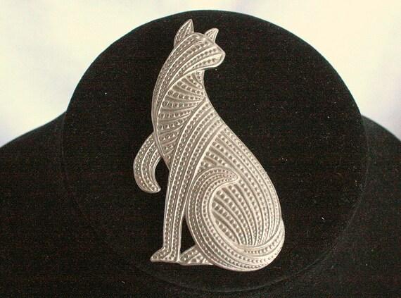 Vintage Cat Figural Brooch Egyptian King Tut Faux Cut Steel Signed JJ 1988