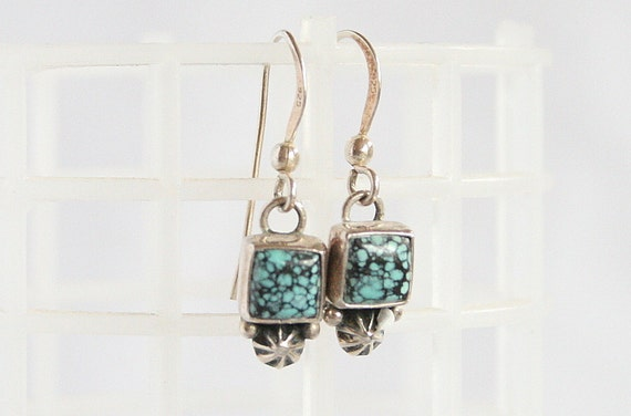 Vintage Sterling Turquoise Pierced Earrings Dangle Drop Southwestern Square