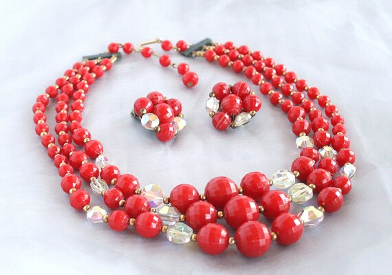 Vintage Multi Strand RED Necklace Earrings Set Beads Crystals AB