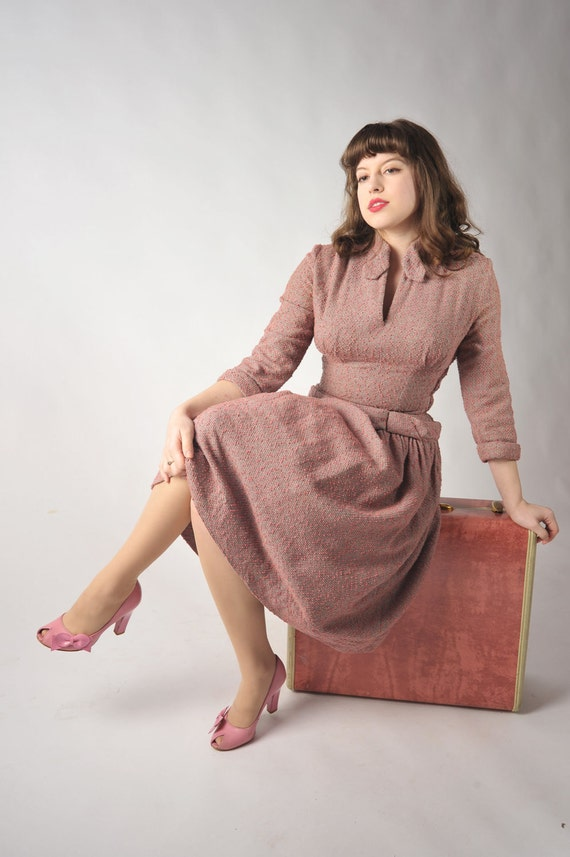 Vintage 1950s Dress - Nubby Pink and Gray Nipped Waist New Look Dress