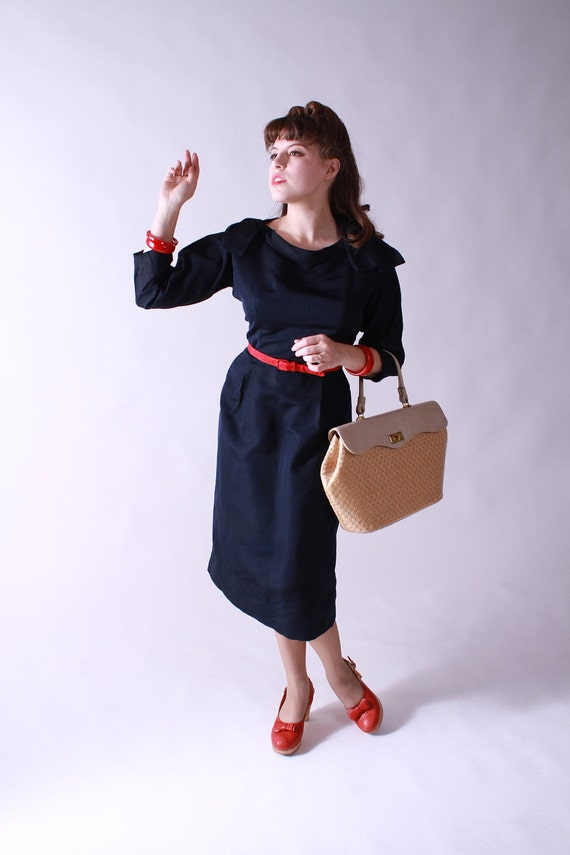 Vintage 1950s Navy Silk Cocktail Dress by Herbert Schneider