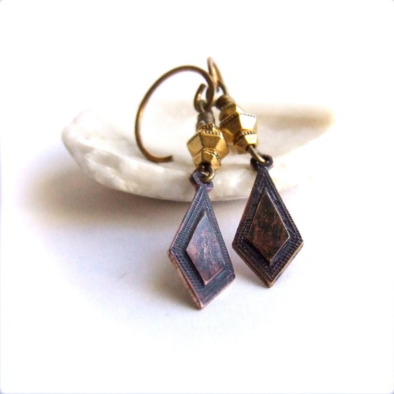 Purple Patina Dangle Drop Earrings Dark Diamond Art Deco Bohemian Fashion Boho Jewellery