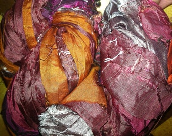 Recycled Sari Ribbon Yarn 100 grams 45 yards