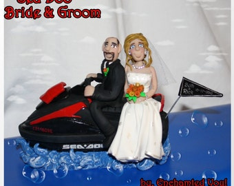 Cake Topper, Bride & Groom on Sea Doo