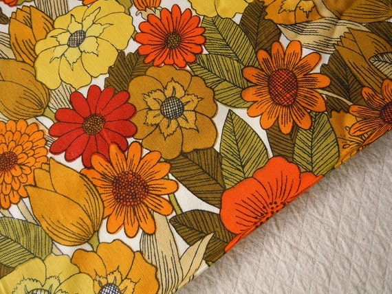 Vintage Designer Upholstery Fabric By The Yard Large Floral Print Orange Yellow Red Flowers