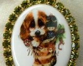CHRISTMAS STOCKING Big-Eyed Puppy Dog Porcelain Cameo Locket Pendant Rhinestones Solid Brass Necklace