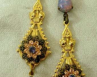 Vintage Glass Opals Dichroic Teardrops Rhinestones Solid Brass Filigree Earrings Miss-art