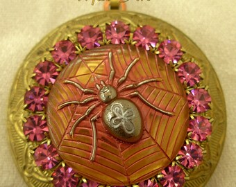 GOTH Gothic Celtic Cross SPIDER Pink Glass Cabochon Solid Brass Chain & Locket Pendant Necklace Rhinestones Miss-art SparklingTreasures2U