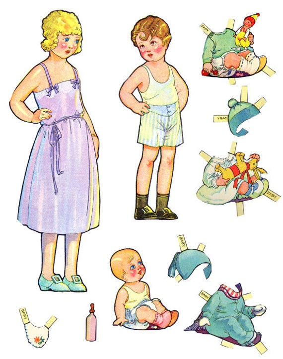 girl boy printable paper doll clothes set clip art digital paper dolls digital graphics childrens craft printables