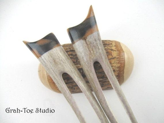 Antler Hair Forks Black and White Ebony Wood Grahtoe Handmade