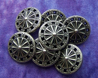 Silver Twinkle Buttons, 15mm 5/8 inch - Pierced Antiqued Silver Tone Metal Star Buttons - 7 NOS Art Nouveau Starburst Shank Buttons MT48