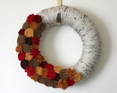 Autumn Flower Wreath, Apple Cider Colors Wreath, 12 inch Size
