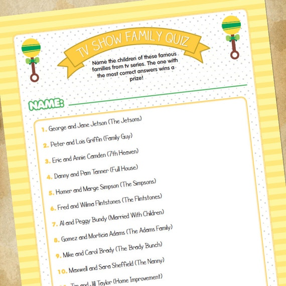 items similar to baby shower game tv families quiz generic on etsy