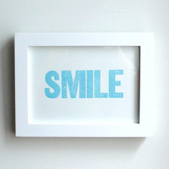 SMILE mini print 5x7 (blue)