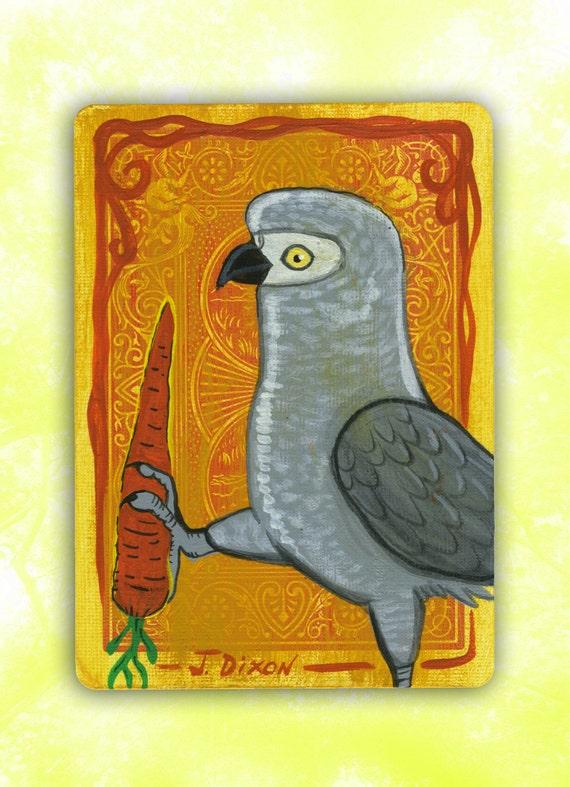 Carrot Parrot, Original Grey Parrot Painting