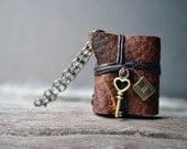 Lock&key MiniatureBook Necklace brown color