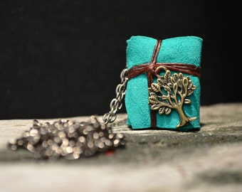MiniatureBook Necklace Tree & turquoise color leather