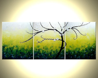 ORIGINAL impasto tree painting modern abstract floral painting XLarge 30x72 gallery wrap canvas contemporary by Dan Lafferty Free Ship
