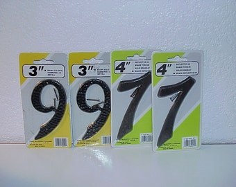 "Metal House Numbers--To Recycle--Industrial Art--RePurpose-3"" and 4"" Sizes--2-7's and 2-9's or 6's"