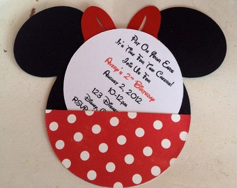Handmade Custom Red Minnie Mouse Birthday Invitations- Set of 15