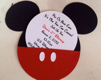 Handmade Custom Red Mickey Mouse Birthday Invitations- Set of 10