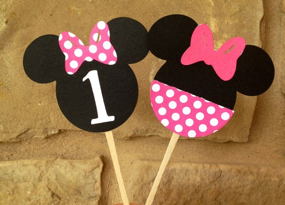 Minnie Mouse cupcake toppers in pink- set of 12