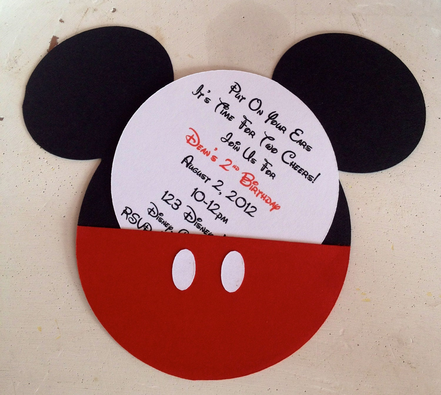 handmade custom red mickey mouse birthday invitations set of