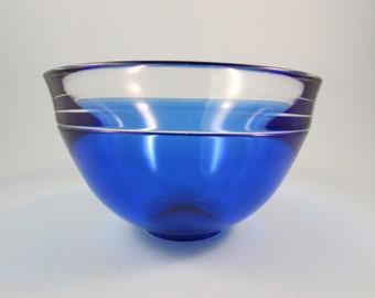 Vintage Orrefors Blue Glass Bowl Blue and Clear Glass Neptunus Vessel Designed by Lars Hellsten