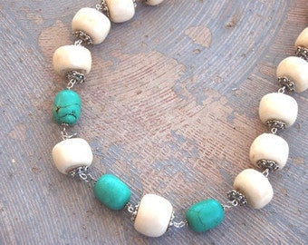 Ethnic Necklace - Turquoise, Bone, and Silver - Dreams of Tibet Collection