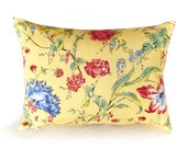 Yellow Floral Pillow, Country, Shabby Chic,14x18 Oblong, Lumbar, Decorative Throw Pillow, Cushion Cover, Blue Red Flowers