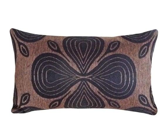 Long Lumbar Pillow Cover Black Brown Mens Throw Pillow Long