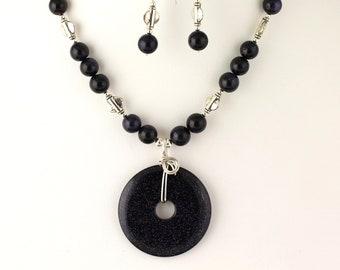 Blue Goldstone Necklace Set. Listing 110637223